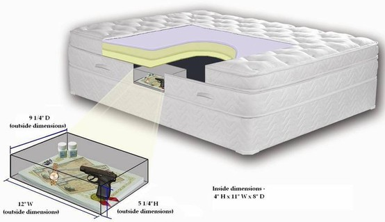 Awesome internal concealment unit gun safe built into mattress. This mattress is awesome