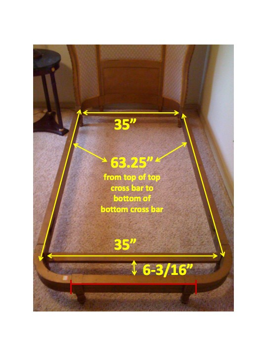 Example of how Rocky Mountain Mattress gets exact measurements for custom size mattresses for antique beds